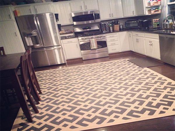 فرش آشپزخانه ساده تیره طوسی