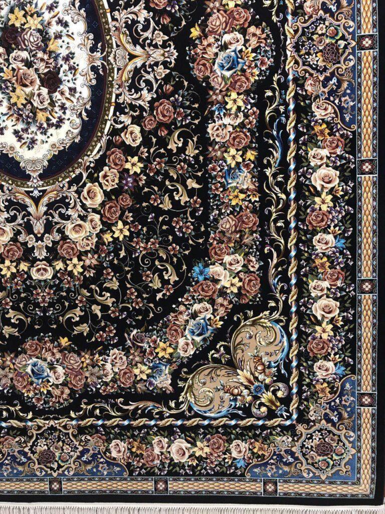 فرش 1000 شانه نقشه ونسا زمینه سرمه ای