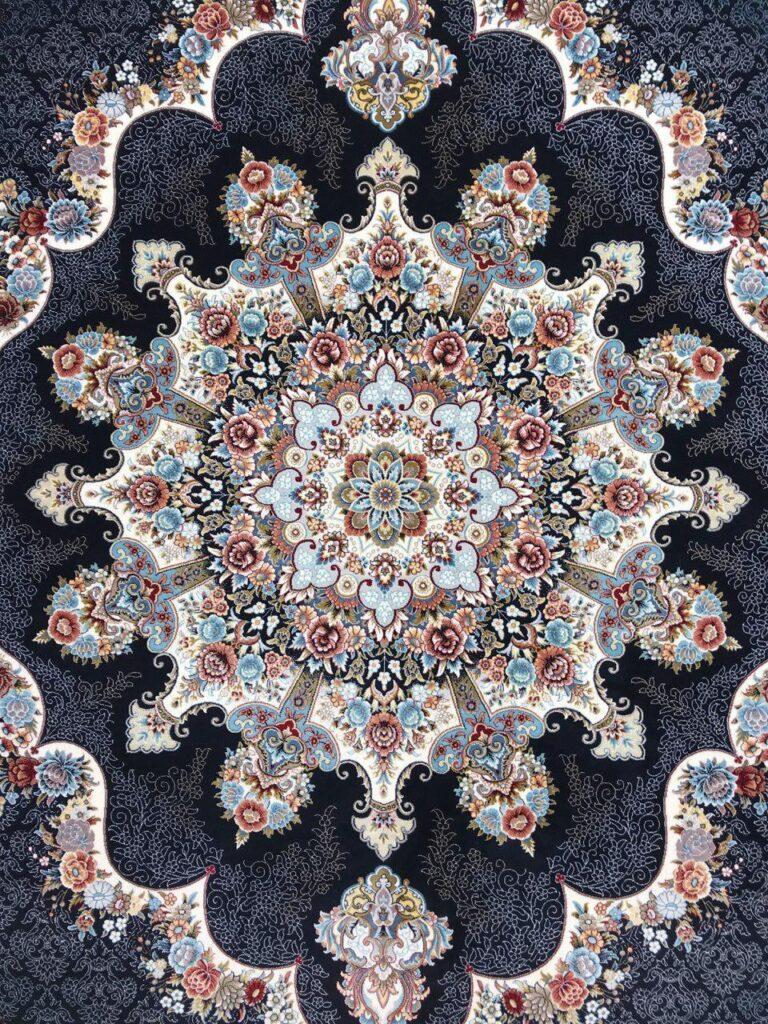 فرش 700 شانه نقشه نیلا زمینه سرمه ای