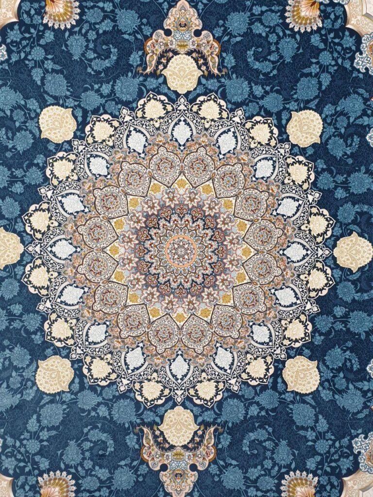 فرش 1200 شانه گل برجسته نقشه تندیس زمینه سرمه ای