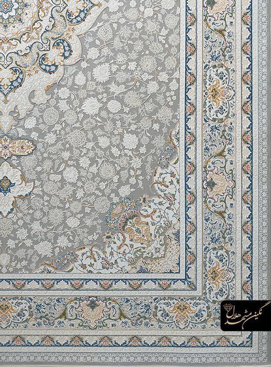 فرش 1500 شانه گل برجسته نقشه درسا کد 15004 زمینه نقره ای
