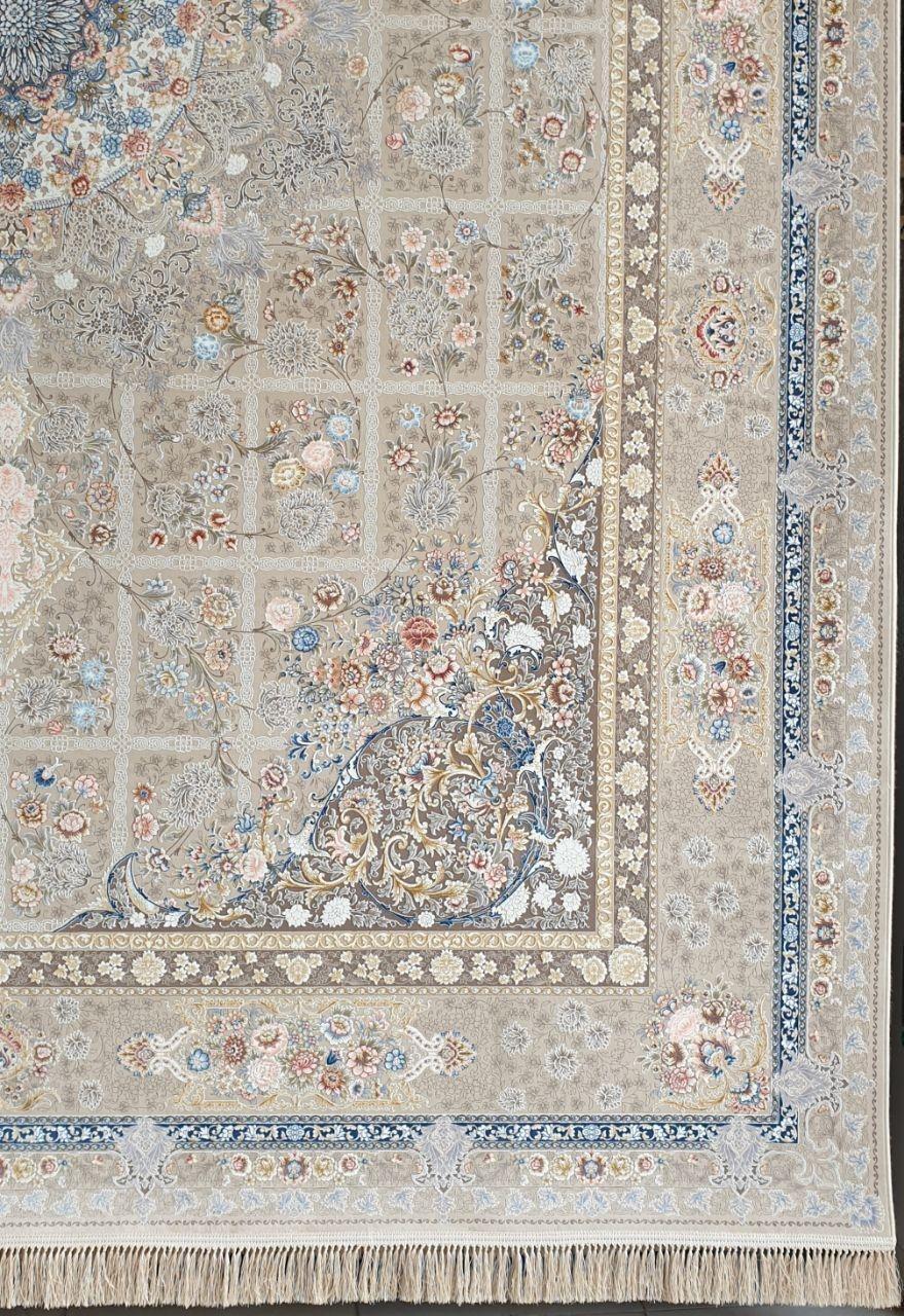 فرش 1200 شانه گل برجسته نقشه گلرو زمینه فیلی