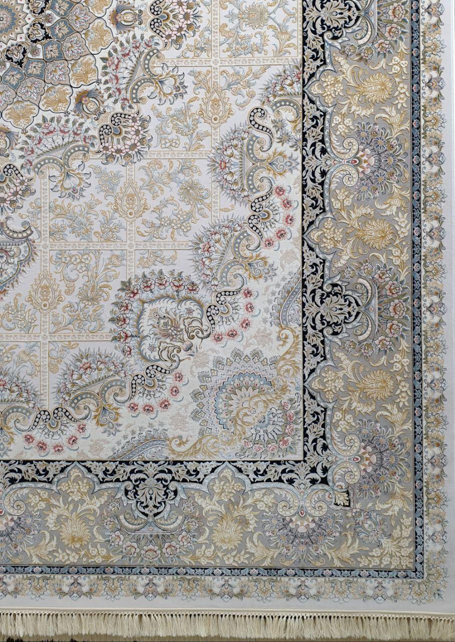 فرش 1200 شانه لایت نقشه روژان زمینه نقره ای