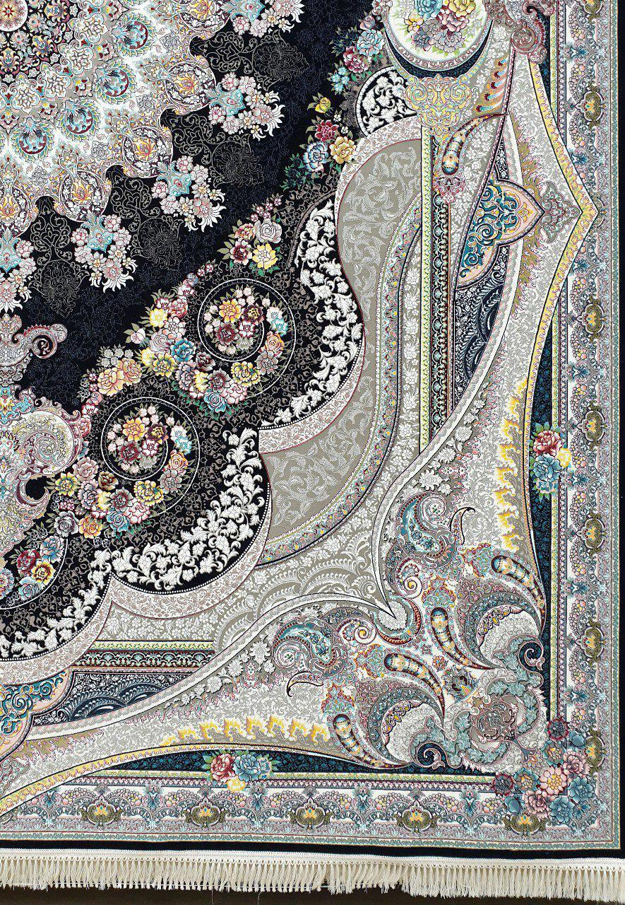 فرش 1200 شانه نقشه شاهچراغ زمینه سرمه ای