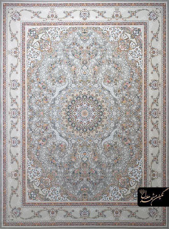 فرش 1500 شانه گل برجسته نقشه گلستان کد 15006 زمینه نقره ای