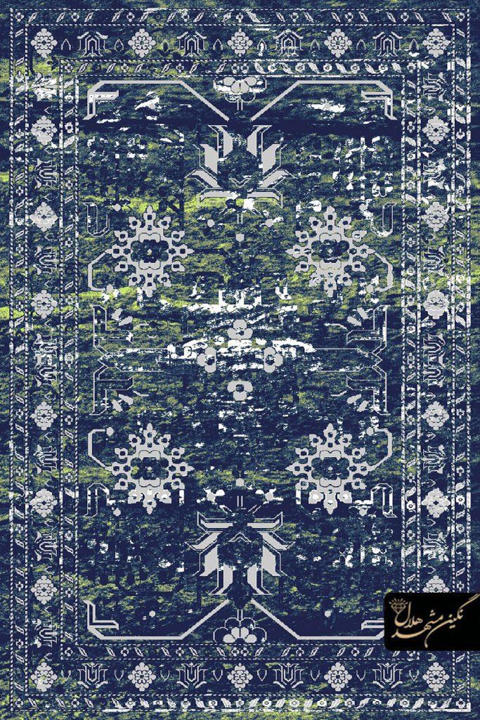فرش وینتیج طرح کهن نما کد 5009 زمینه سرمه ای