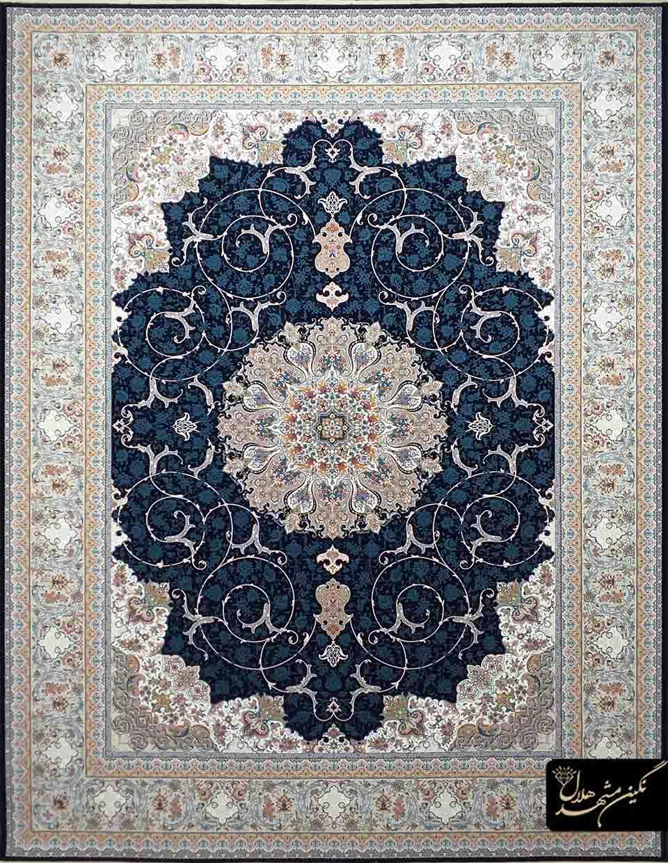 فرش 1200 شانه گل برجسته نقشه بهشت اصفهان کد 7110 زمینه سرمه ای