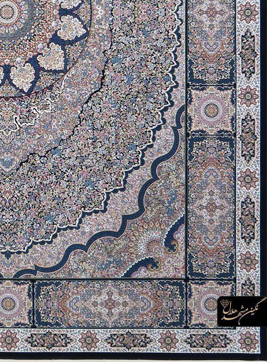 فرش 1200 شانه گل برجسته نقشه کرمان کد 7118 زمینه سرمه ای