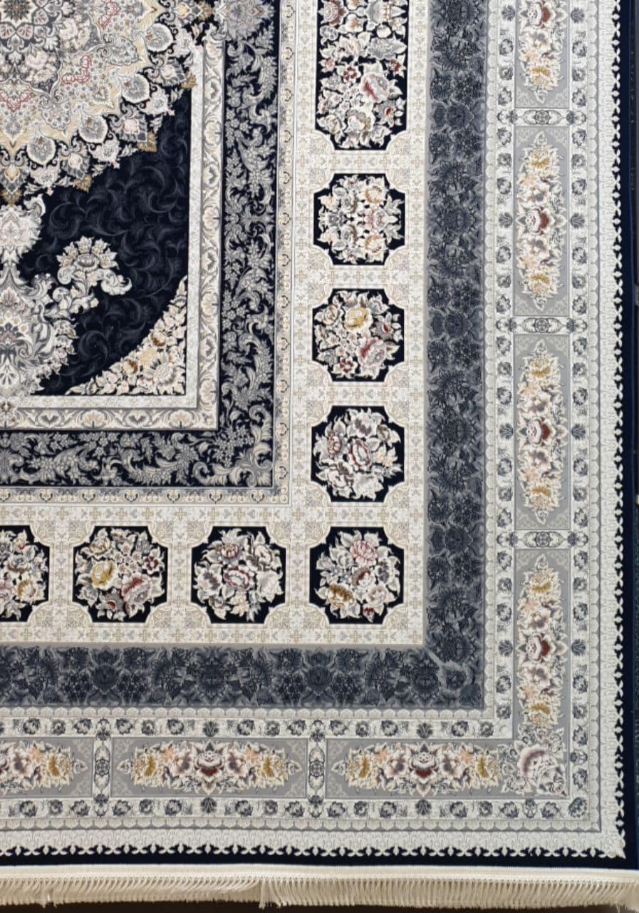 فرش 1200 شانه برجسته نقشه اخگر زمینه سرمه ای