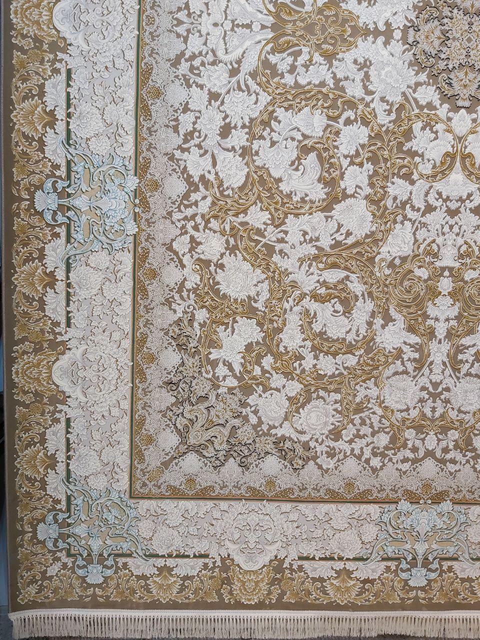 فرش 1200 شانه گل برجسته نقشه آرمان زمینه نسکافه ای