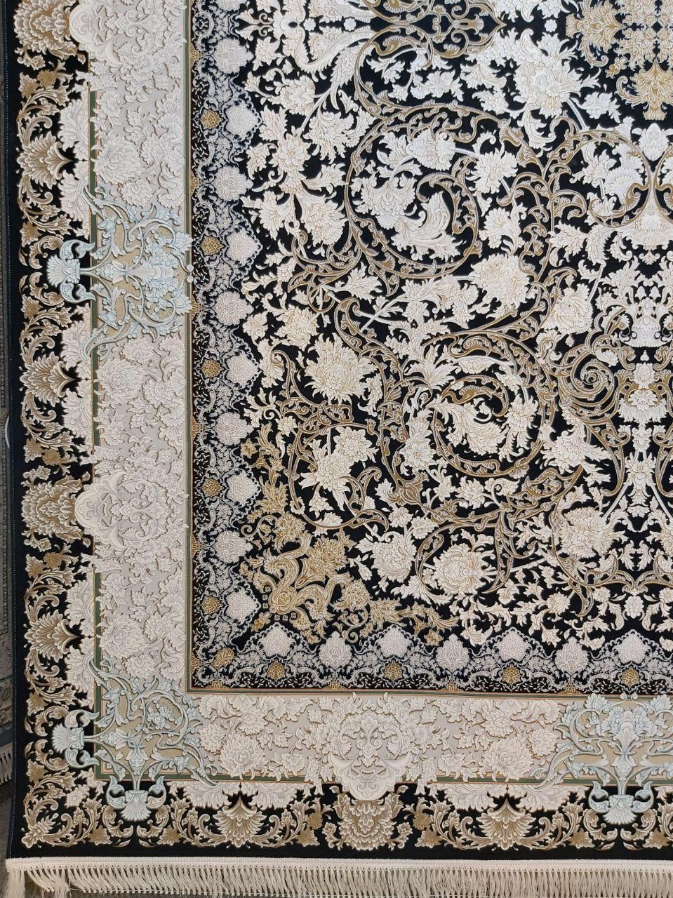 فرش 1200 شانه گل برجسته نقشه آرمان زمینه سرمه ای