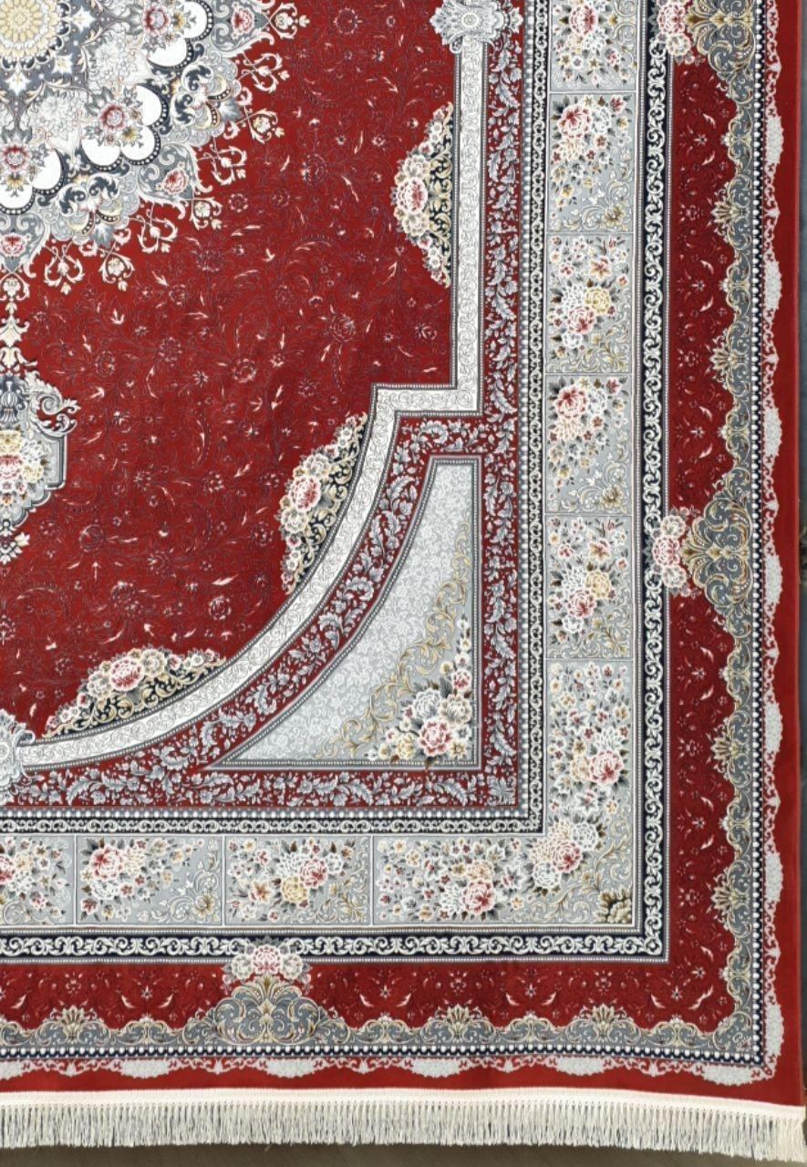 فرش 1200 شانه برجسته نقشه بوستان زمینه لاکی