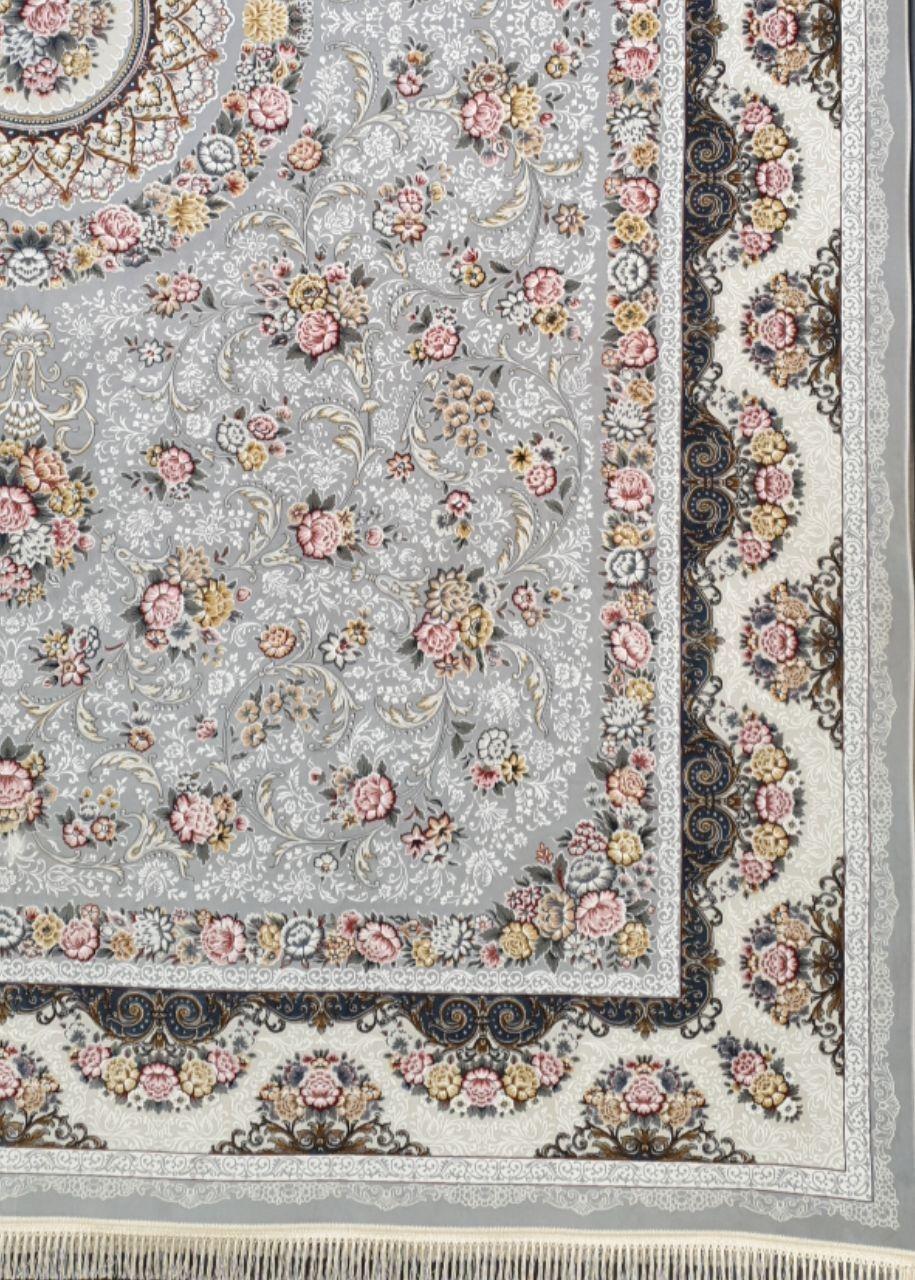 فرش 1200 شانه برجسته نقشه گل  افشان زمینه دلفینی