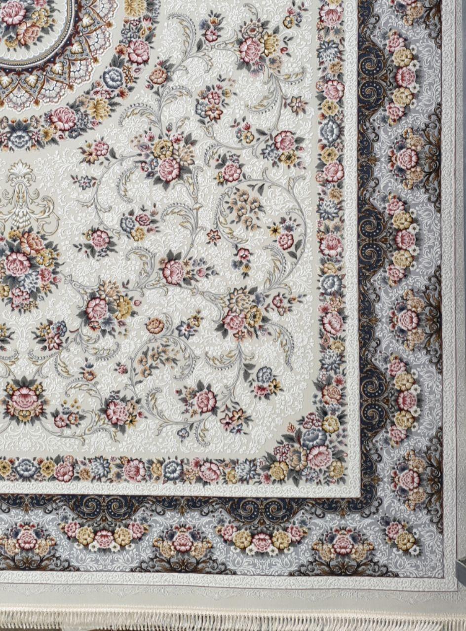 فرش 1200 شانه برجسته نقشه گل افشان زمینه کرم