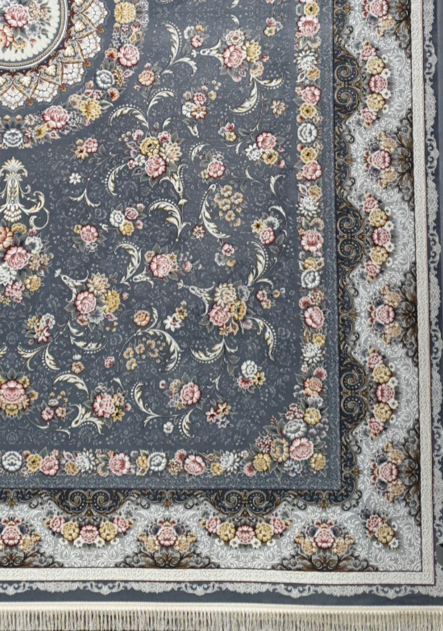 فرش 1200 شانه برجسته نقشه گل افشان زمینه متالیک