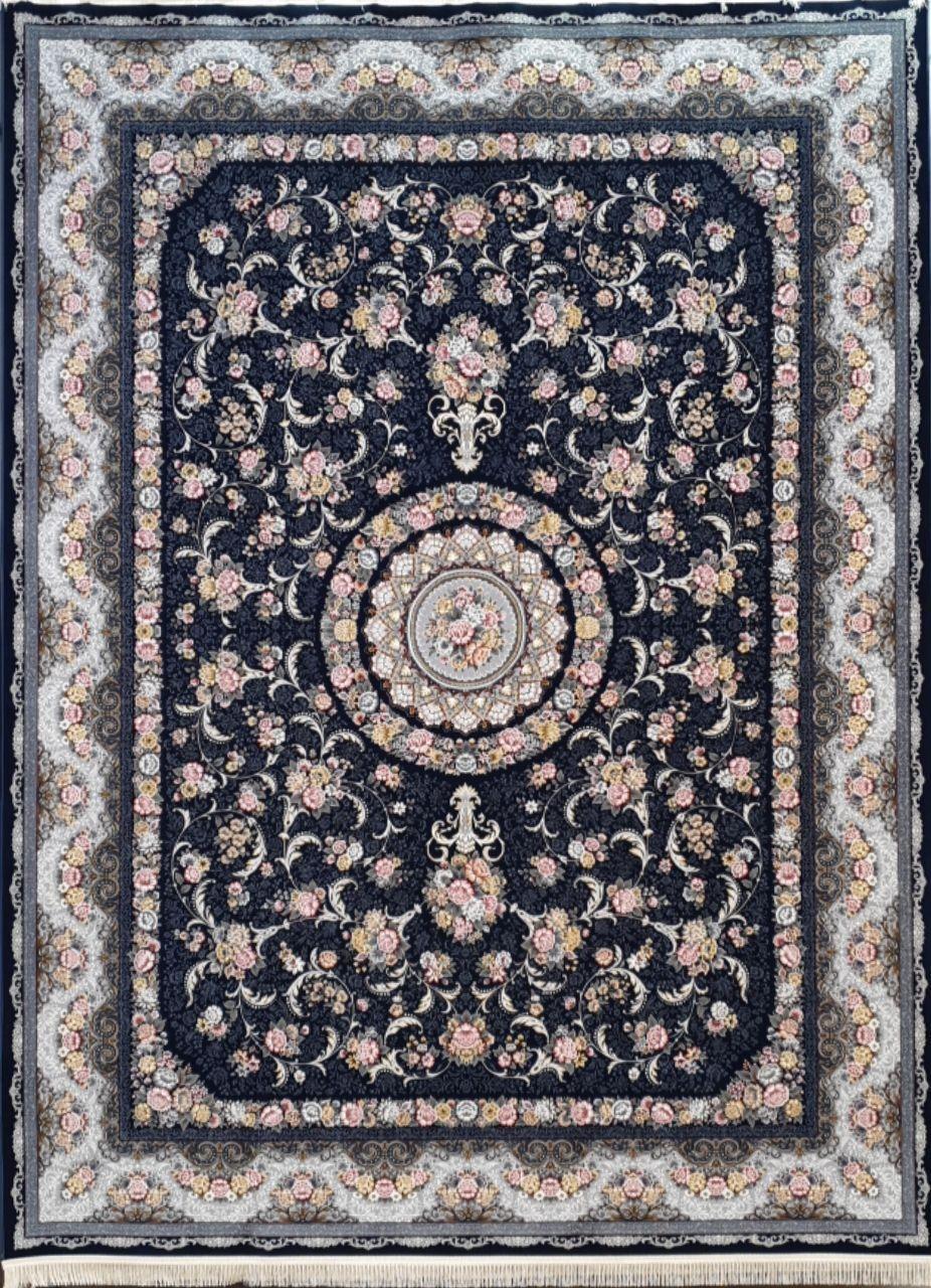 فرش 1200 شانه برجسته نقشه گل افشان زمینه سرمه ای