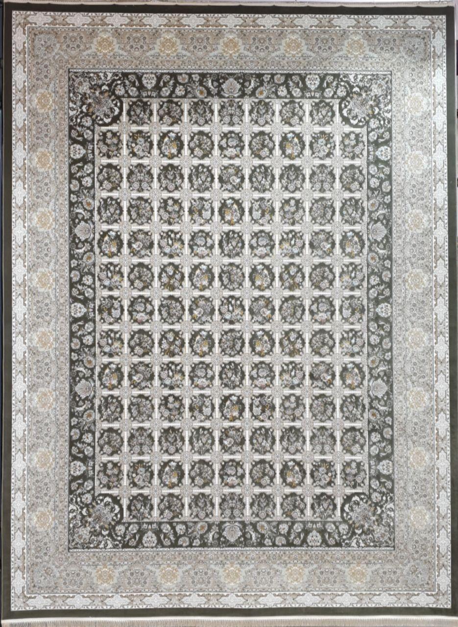 فرش 1500 شانه گل برجسته نقشه خشتی زمینه دودی