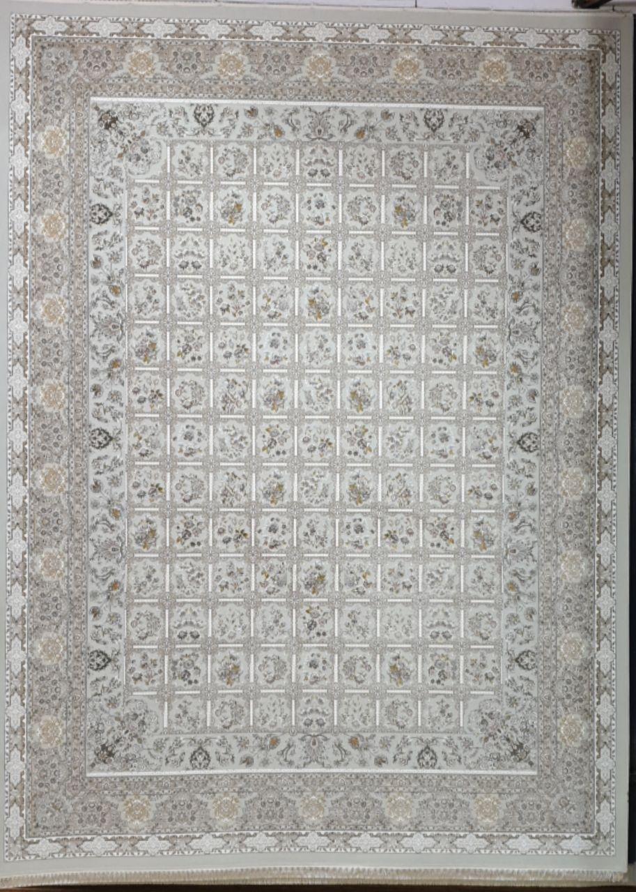 فرش 1500 شانه گل برجسته نقشه خشتی زمینه سیلور