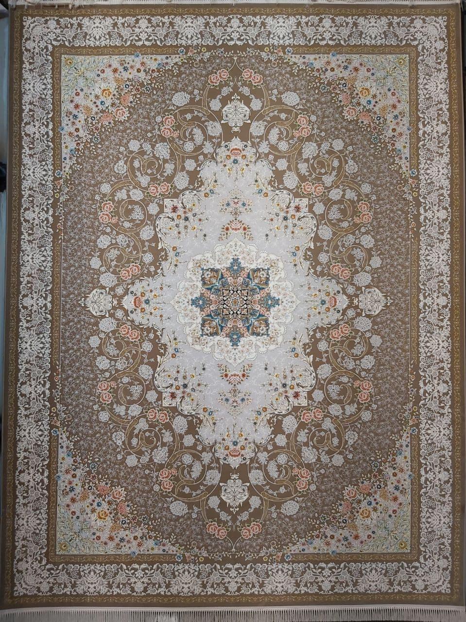 فرش 1200 شانه گل برجسته نقشه ناوک زمینه نسکافه ای
