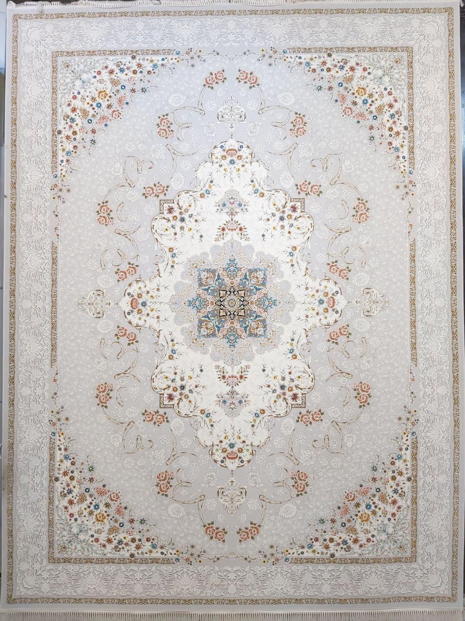 فرش 1200 شانه گل برجسته نقشه ناوک زمینه نقره ای