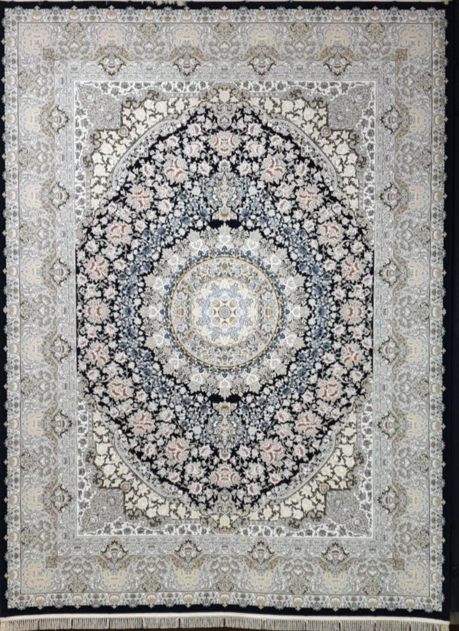 فرش 1500 شانه گل برجسته نقشه نقره زمینه سرمه ای