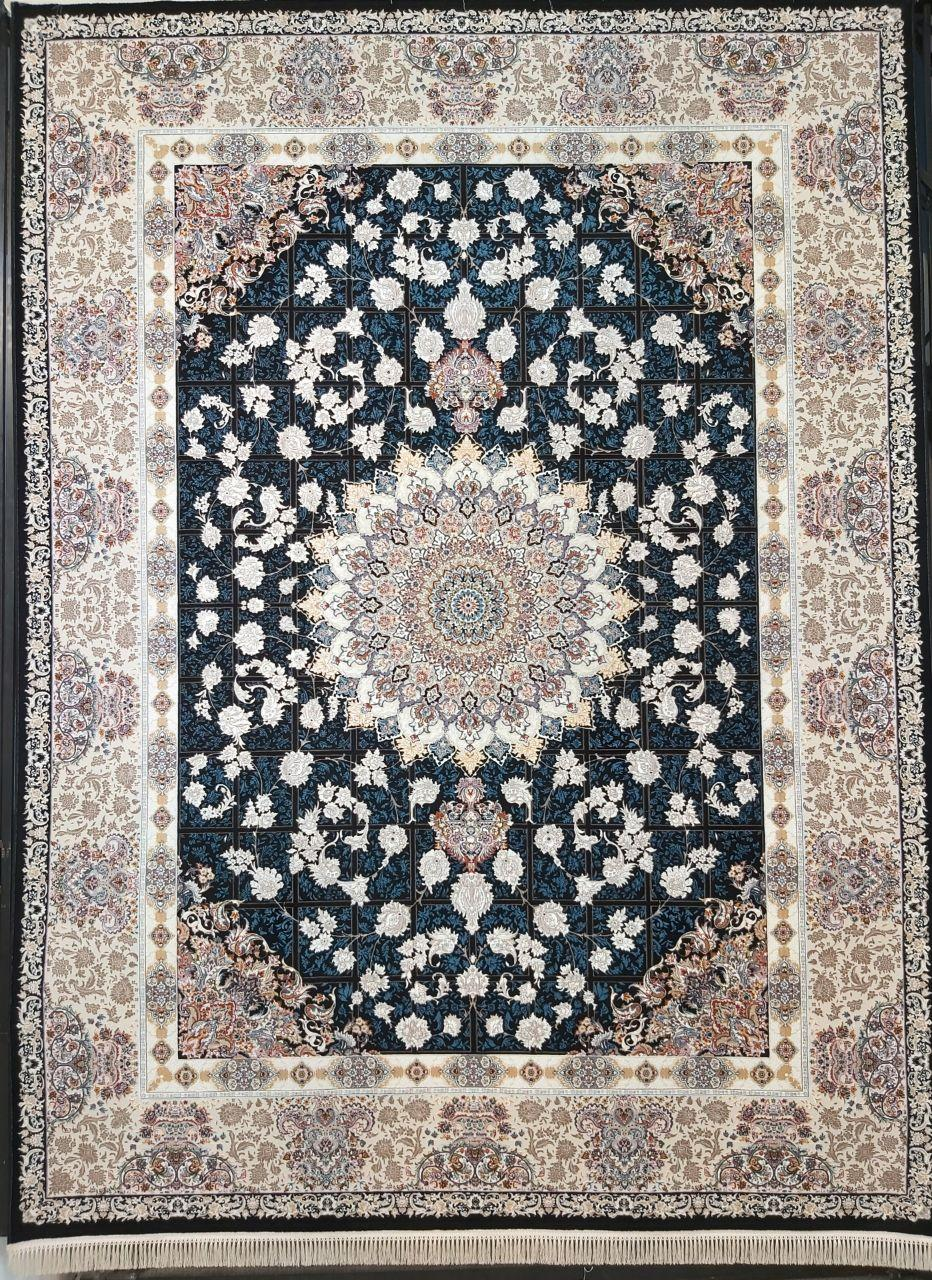 فرش 700 شانه گل برجسته نقشه پیچک زمینه سرمه ای