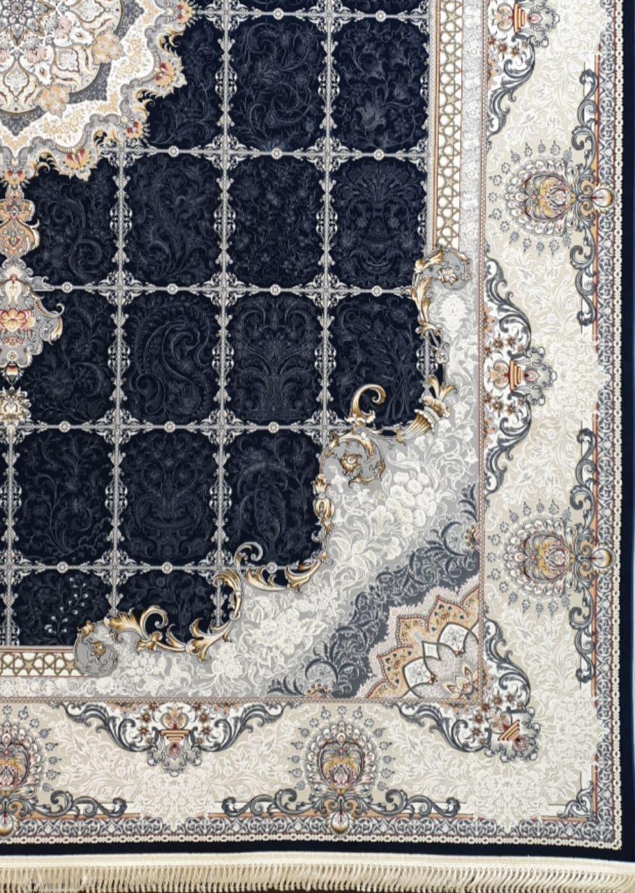 فرش 1200 شانه برجسته نقشه رها زمینه سرمه ای