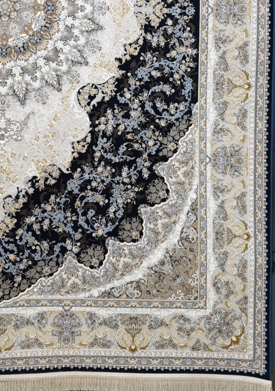 فرش 1500 شانه گل برجسته نقشه ساحل زمینه سرمه ای