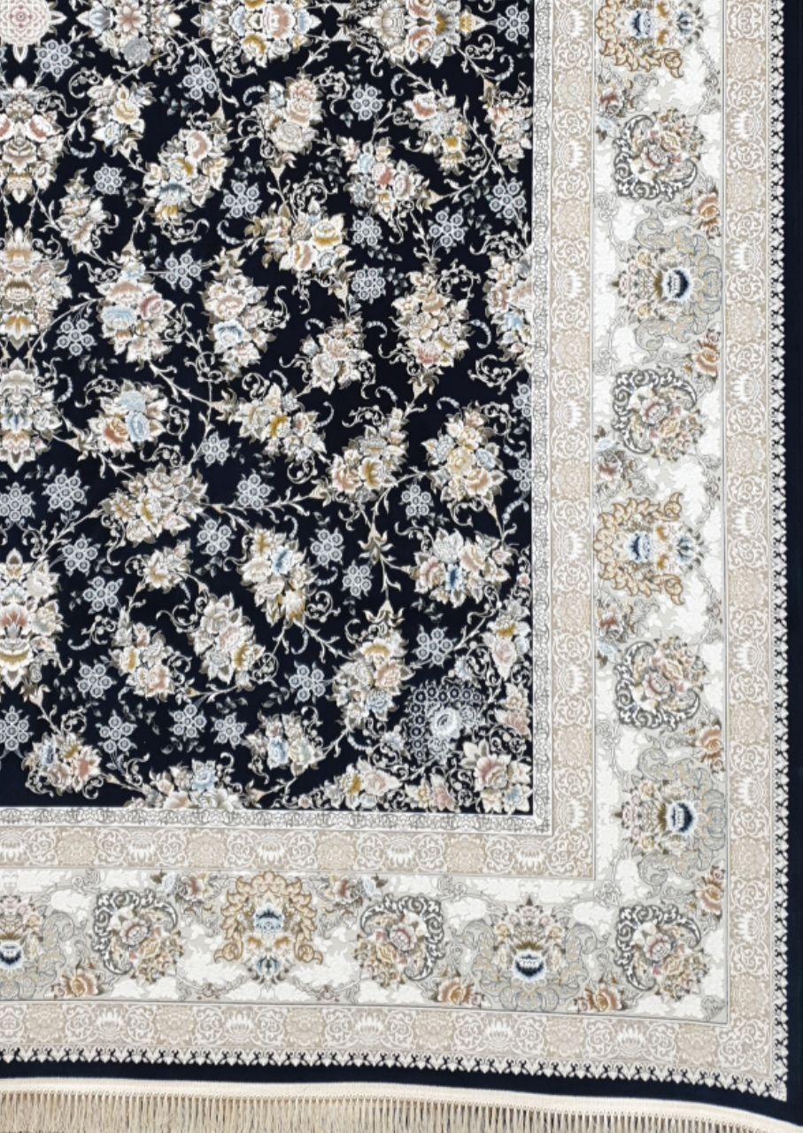 فرش 1500 شانه گل برجسته نقشه سالار زمینه سرمه ای