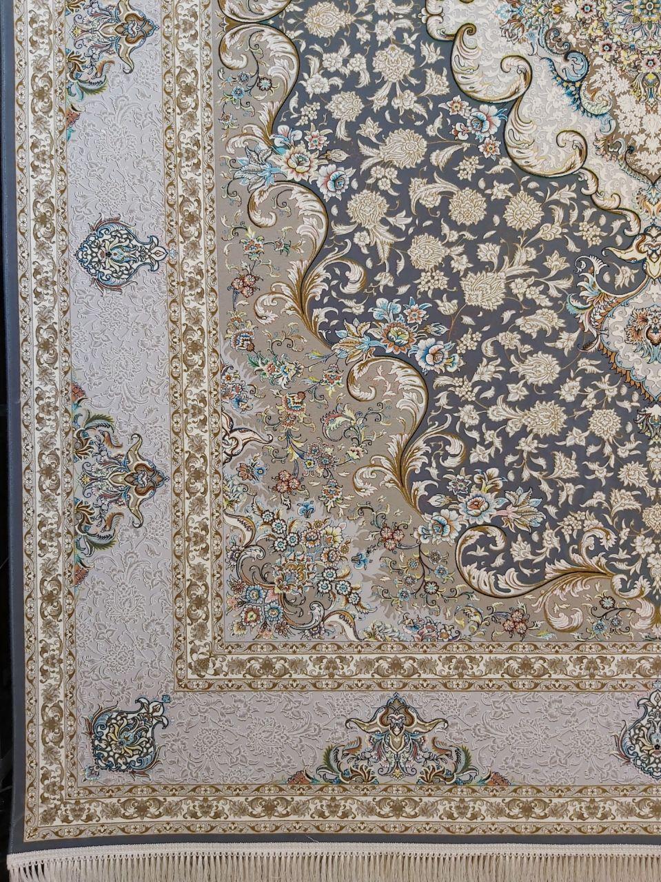 فرش 1200 شانه گل برجسته نقشه سپهر زمینه ذغالی
