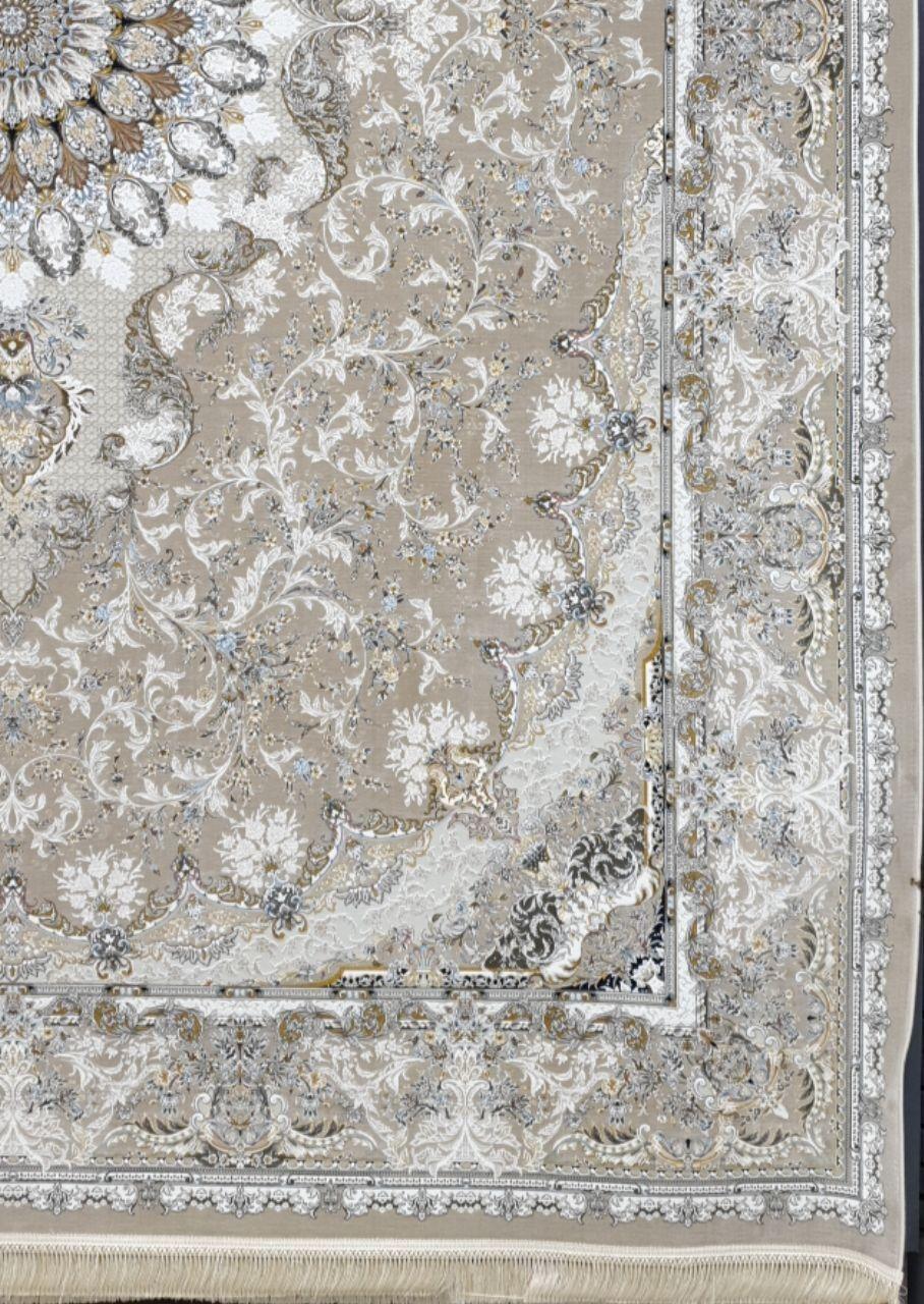 فرش 1500 شانه گل برجسته نقشه تبسم زمینه بژ