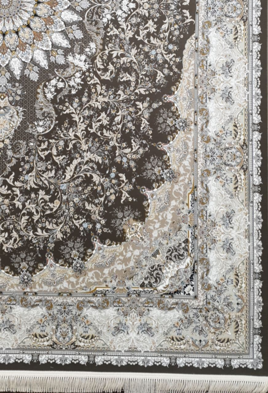 فرش 1500 شانه گل برجسته نقشه تبسم زمینه دودی