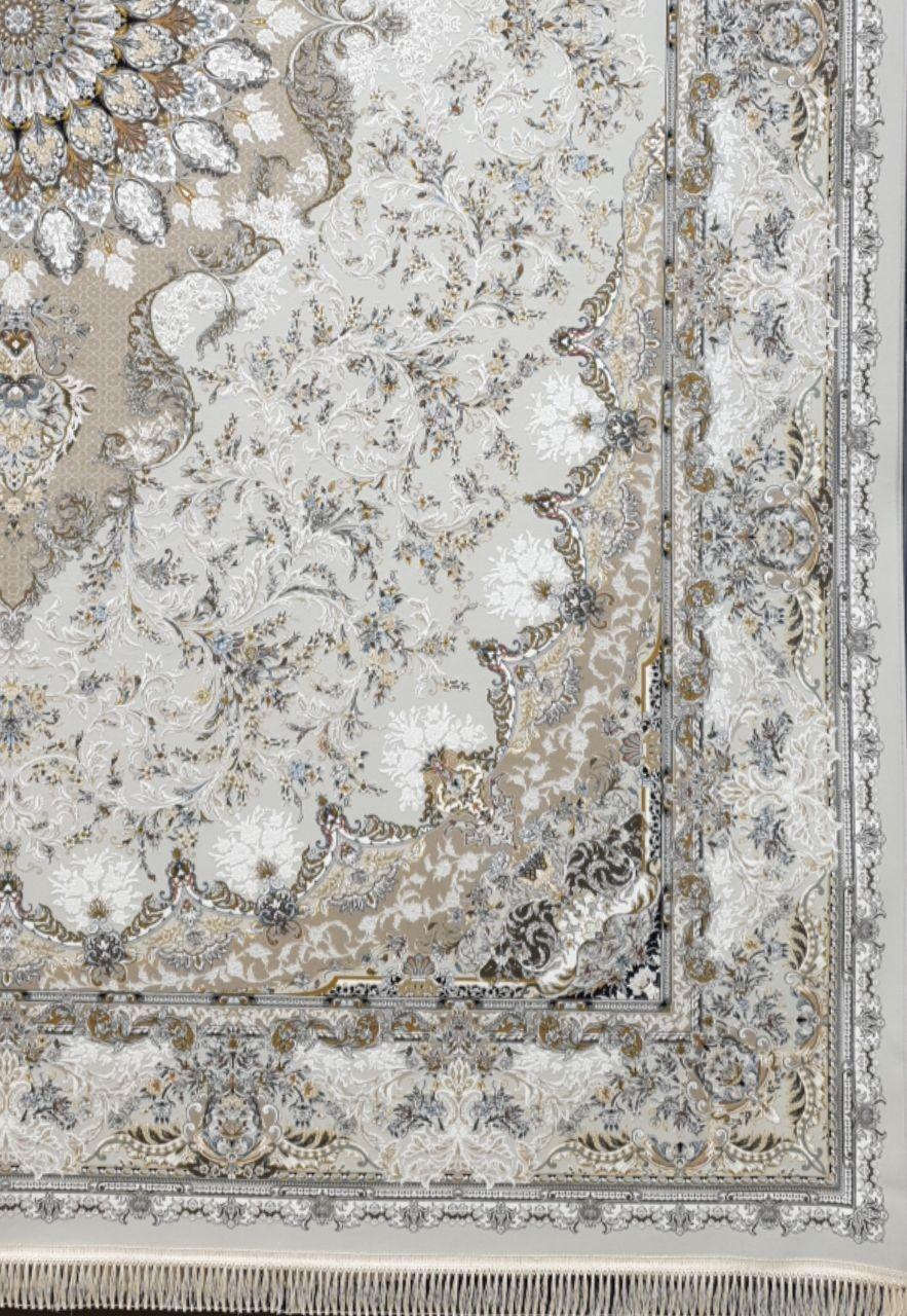 فرش 1500 شانه گل برجسته نقشه تبسم زمینه سیلور