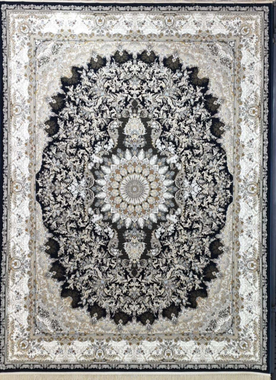 فرش 1500 شانه گل برجسته نقشه تبسم زمینه سرمه ای