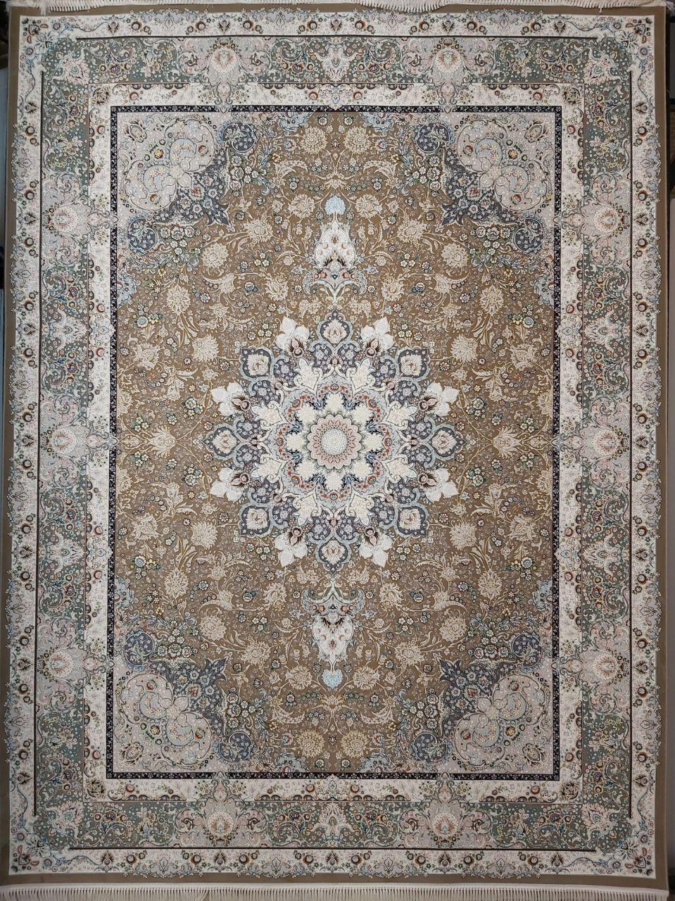 فرش 1200 شانه گل برجسته نقشه سپهر زمینه نسکافه ای