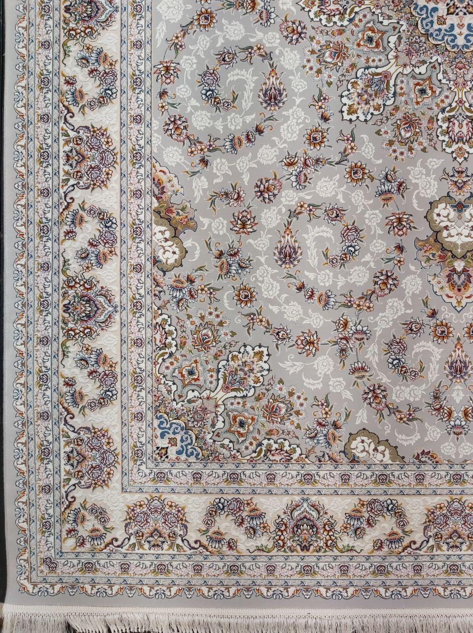فرش 700 شانه گل برجسته نقشه طاها زمینه فیلی
