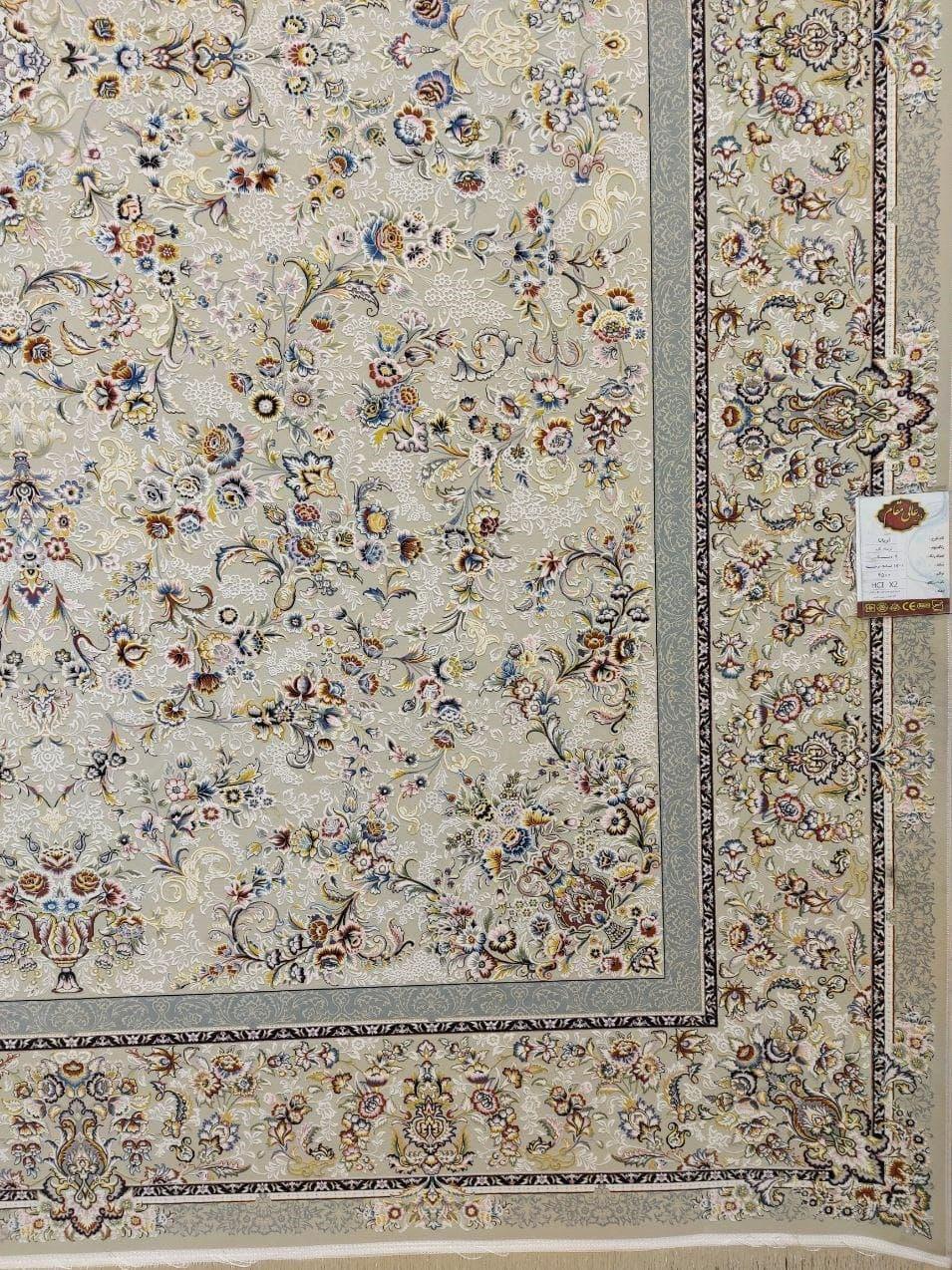 فرش 1500 شانه گل برجسته نقشه آریانا زمینه ترمه ای