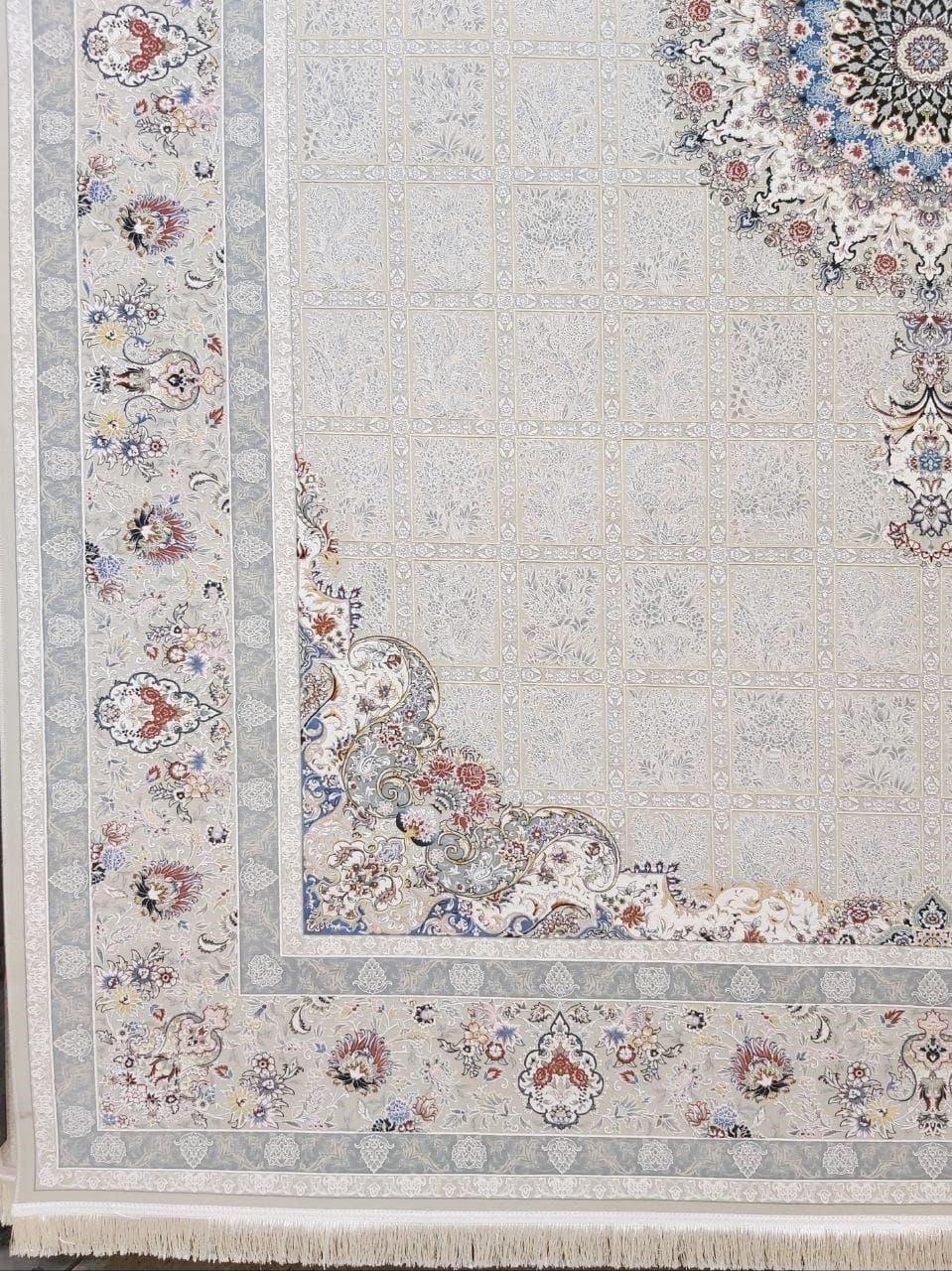 فرش 1500 شانه گل برجسته نقشه مانلی زمینه ترمه ای
