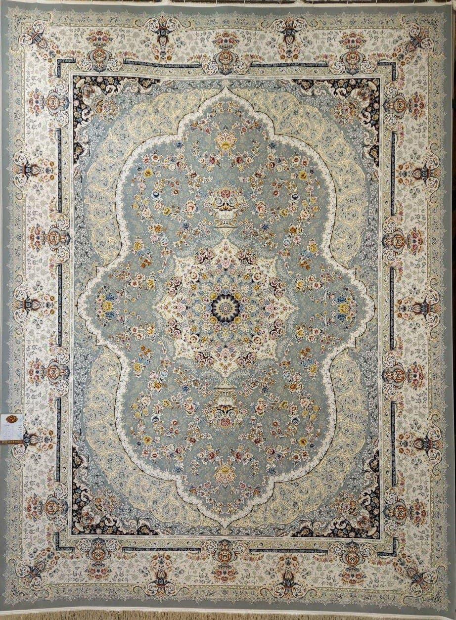 فرش 1500 شانه گل برجسته نقشه روناک زمینه فیلی