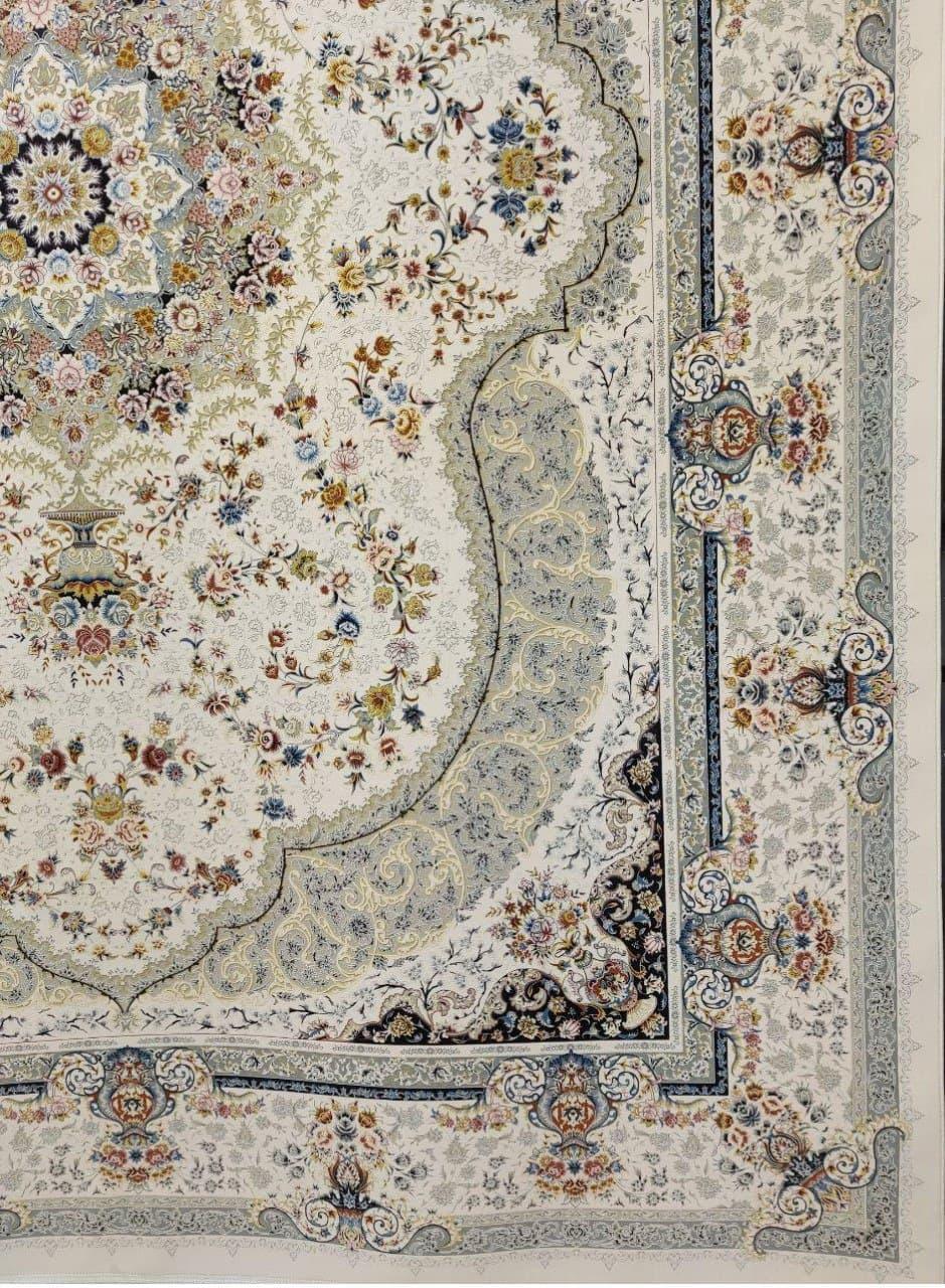 فرش 1500 شانه گل برجسته نقشه روناک زمینه کرم