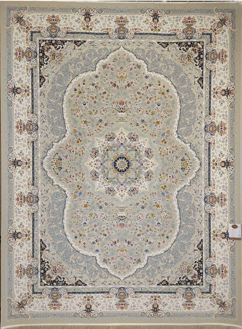 فرش 1500 شانه گل برجسته نقشه روناک زمینه ترمه ای