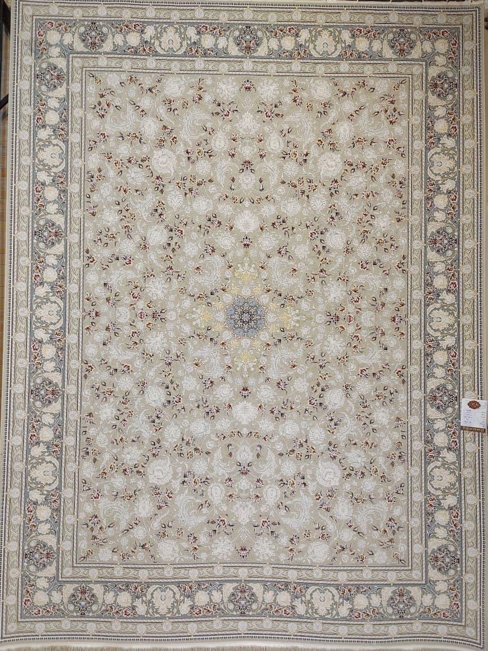 فرش 1500 شانه گل برجسته نقشه رکسانا زمینه ترمه ای