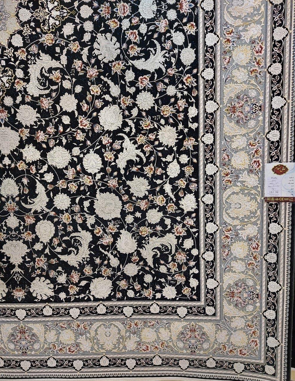 فرش 1500 شانه گل برجسته نقشه رکسانا زمینه ذغالی