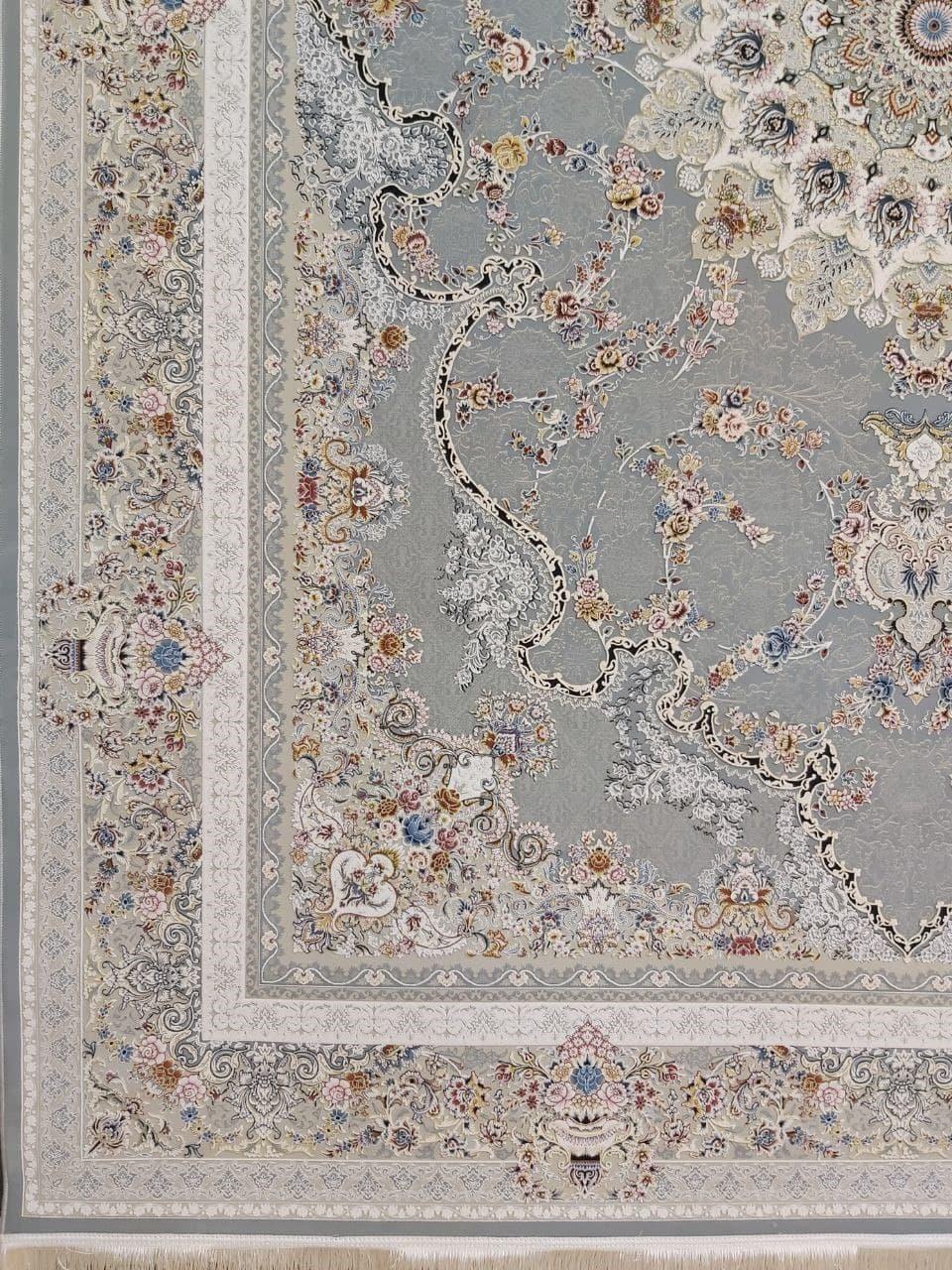 فرش 1500 شانه گل برجسته نقشه صدف زمینه فیلی