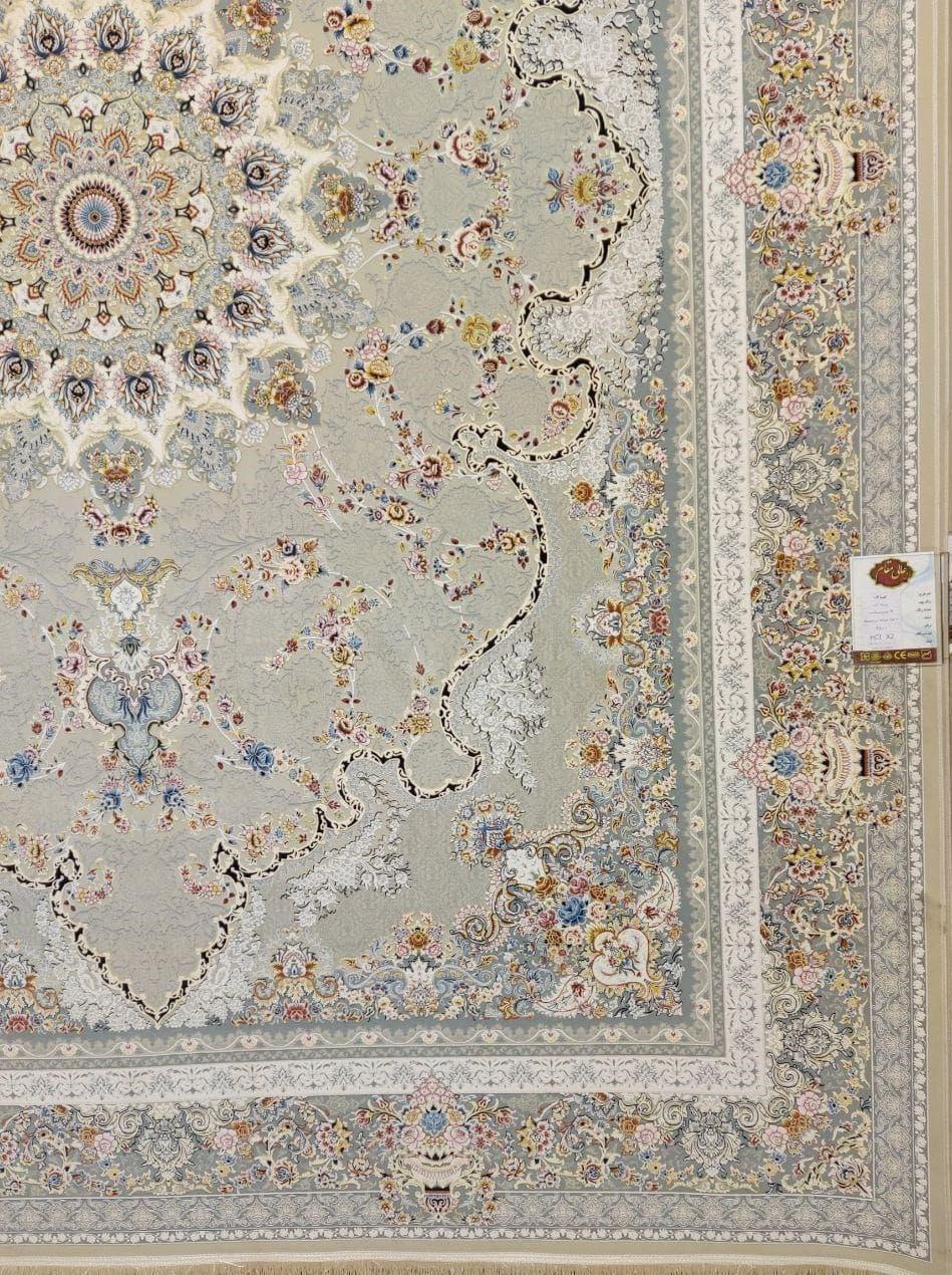 فرش 1500 شانه گل برجسته نقشه صدف زمینه ترمه ای