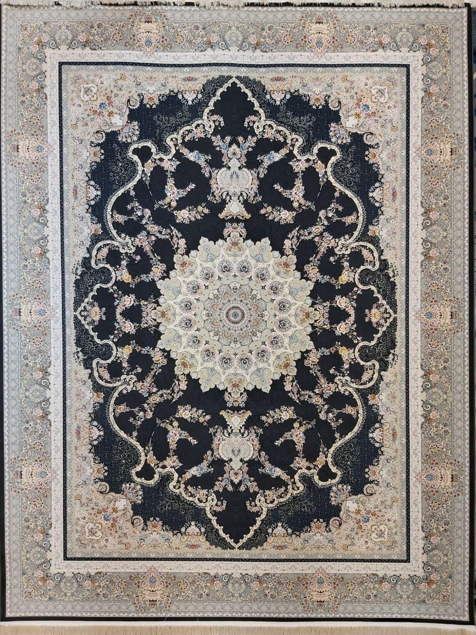 فرش 1500 شانه گل برجسته نقشه صدف زمینه ذغالی