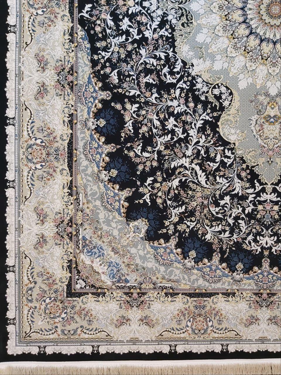 فرش 1500 شانه گل برجسته نقشه تبسم زمینه ذغالی