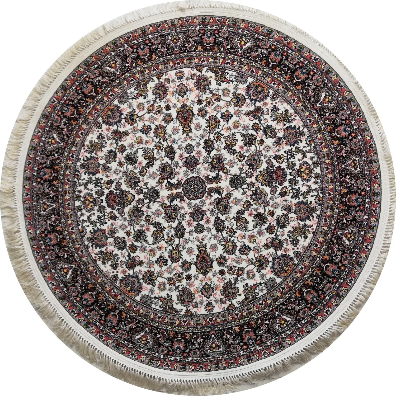 فرش گرد 700 شانه نقشه افشان زمینه کرم قطر 1/5 متر