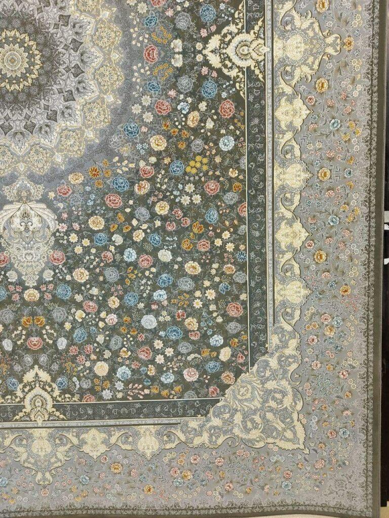 فرش 1200 شانه نقشه قصر گل زمینه دودی