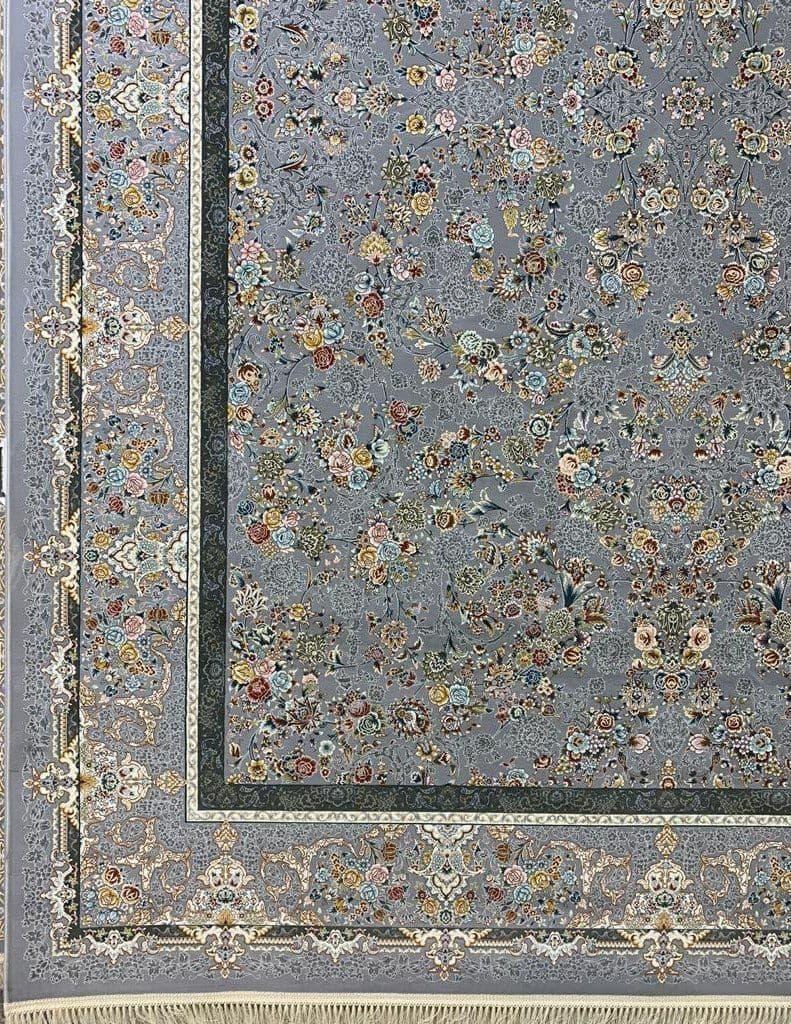 فرش 1200 شانه نقشه شاه گل زمینه نقره ای